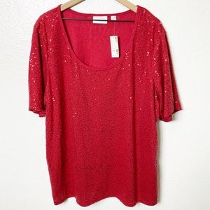 Avenue Red Sparkly Sequin Women Plus Size Top